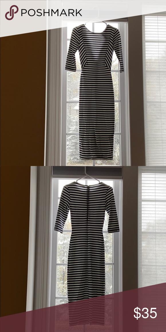 Fitted Trafaluc Zara Midi Stripe Dress Striped Dress Dresses Clothes Design