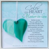 The Perfect Mother In Law Gift Our Handmade Glass Hearts Complete With Original Color My Heart Sentiment Check Out Grandparent Co