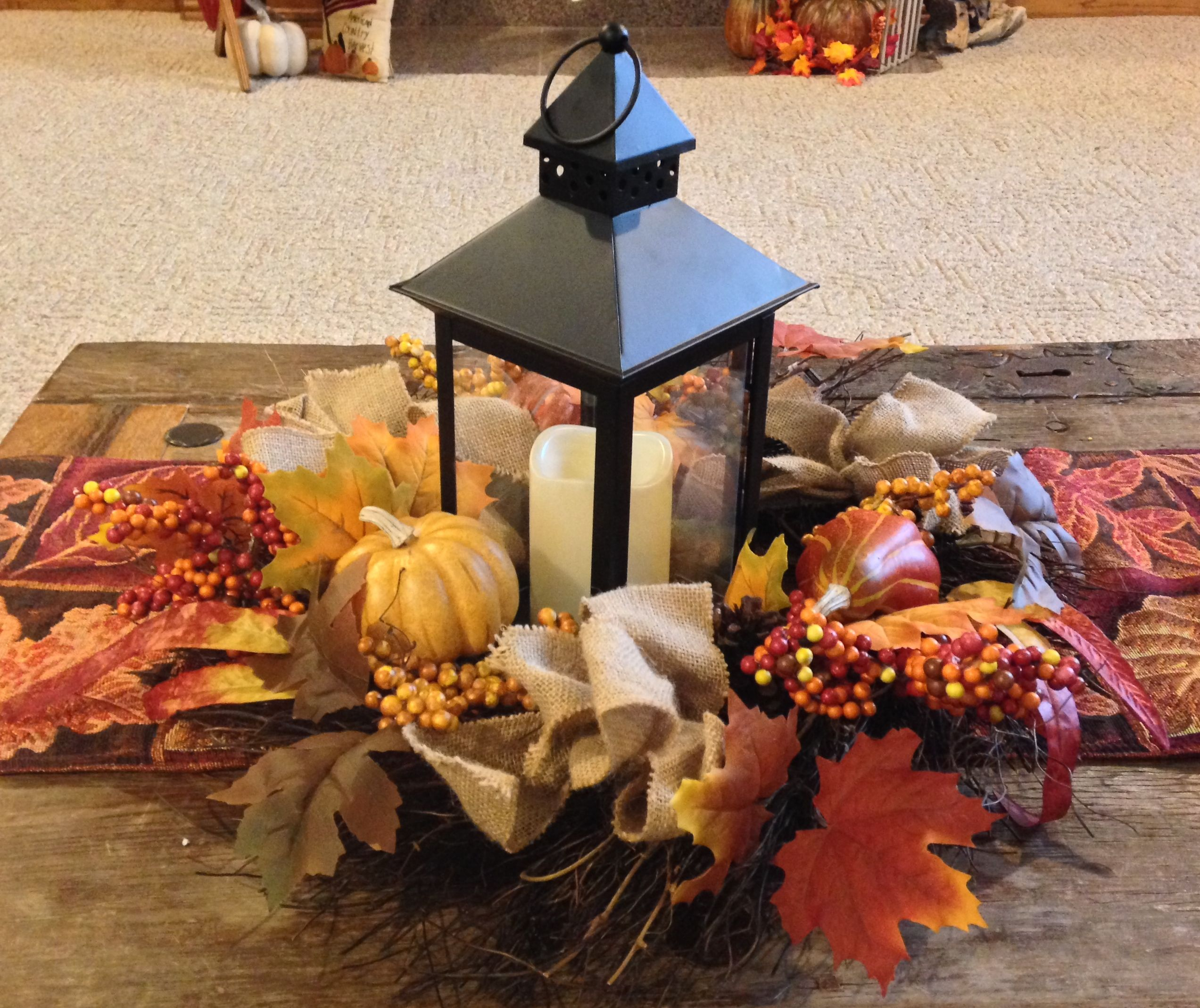 Fall Table Decorating Decorations Lantern Leaves Wreath This