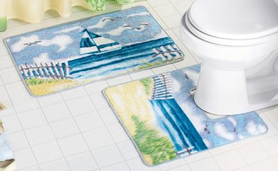 Sailboat By The Seaside Bathroom Rug