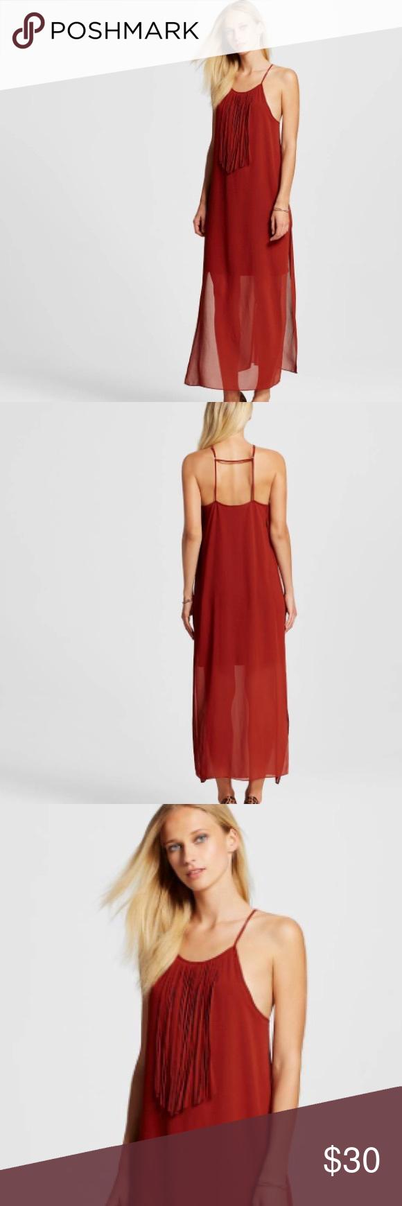 Rust Red Fringe Tank Maxi Dress Festival Sheer L Maxi Tank Dress Festival Dress Dresses [ 1740 x 580 Pixel ]