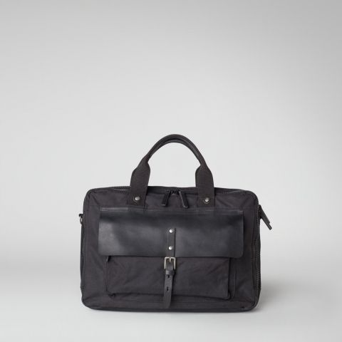 afcb4a3754 Ally Capellino | Leather and waxed cotton briefcase with laptop sleeve in  black | Ally Capellino