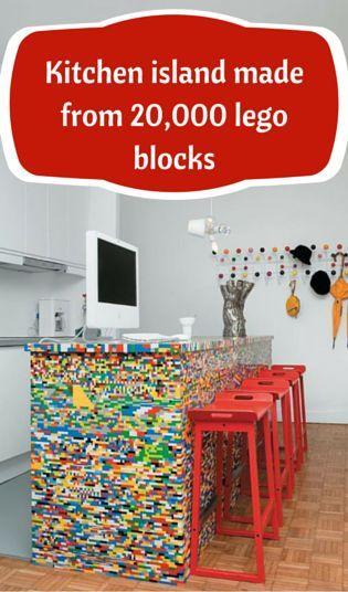Kitchen island made with 20,000 Lego blocks