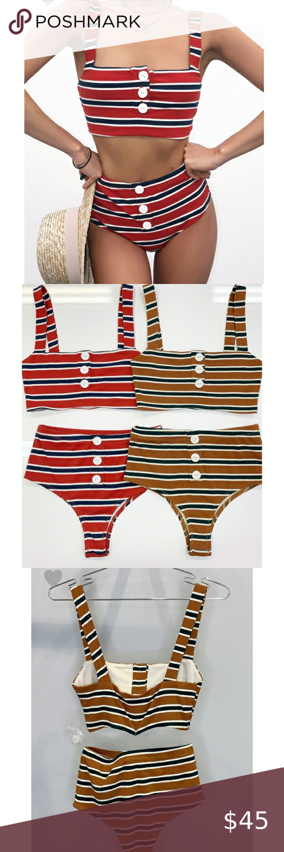 """🇺🇸 NEW ARRIVAL: Red white & blue 2 piece bikini Red, White and Blue 🇺🇸 patriotic high waist 2-piece biking with button detail! Length of top for all sizes is 5.5"""" and length of bottoms for all sizes is 11.5""""  Measurements  Small - bust 24"""" waist 25"""" Medium - bust 26"""" waist 26"""" Large - bust 28"""" waist 28""""  #swimsuit #bathingsuit #america #4thofjuly #bikini boutique Swim Bikinis"""