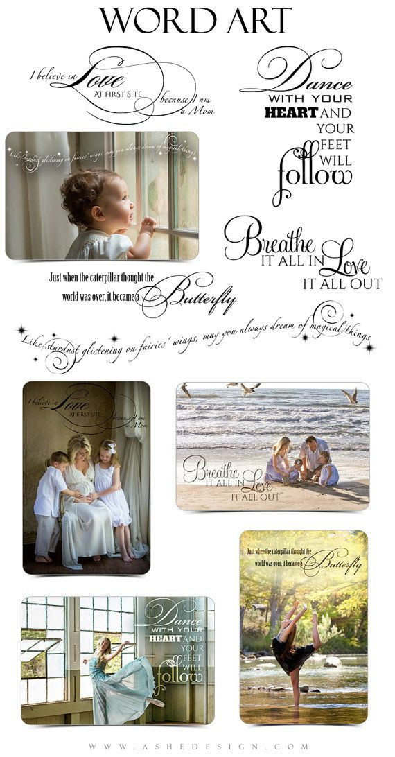 Family Word Art Quotes Photo Overlays for Scrapbooking 5 Custom Quotes for your Photographs and Quick Pages. MOM -