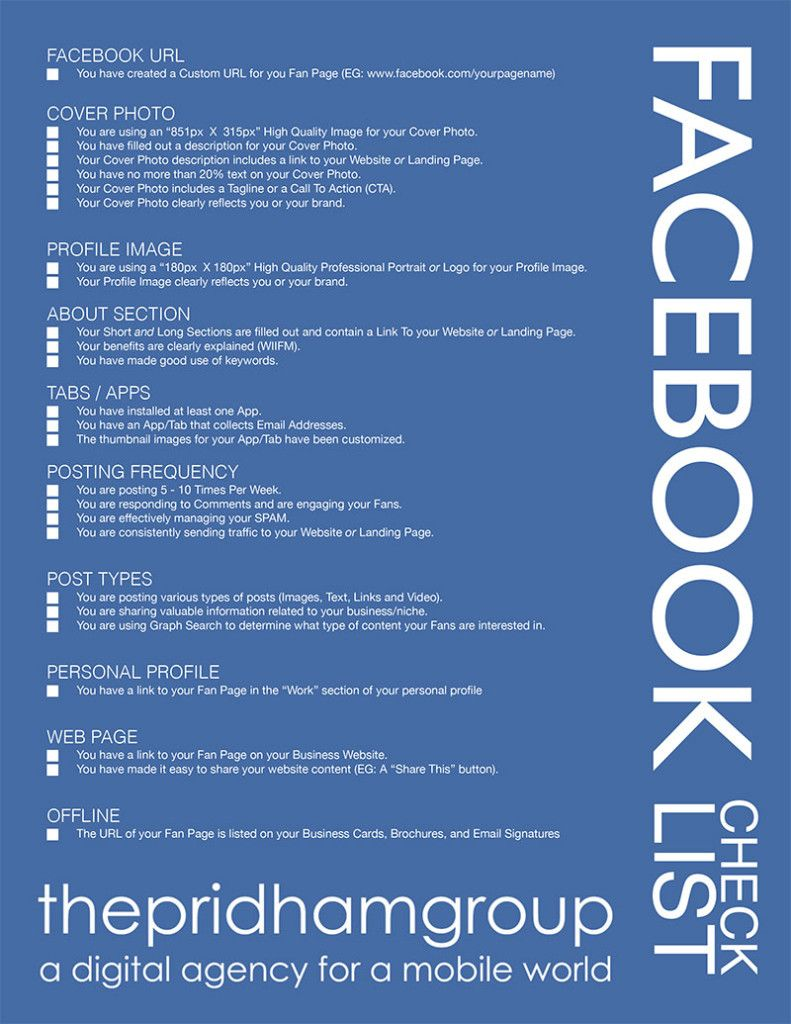 A Handy Facebook Checklist The Pridham Group Business Facebook Page Photo Website Checklist