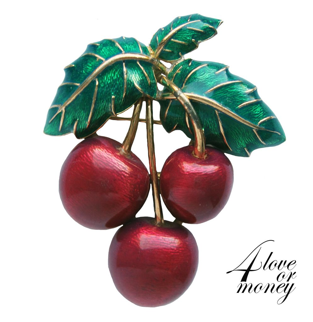 Vintage Ciner ruby red cherry pin brooch http://www.rubylane.com/item/1337712-UN-037/Vintage-Ciner-ruby-red-cherry-pin