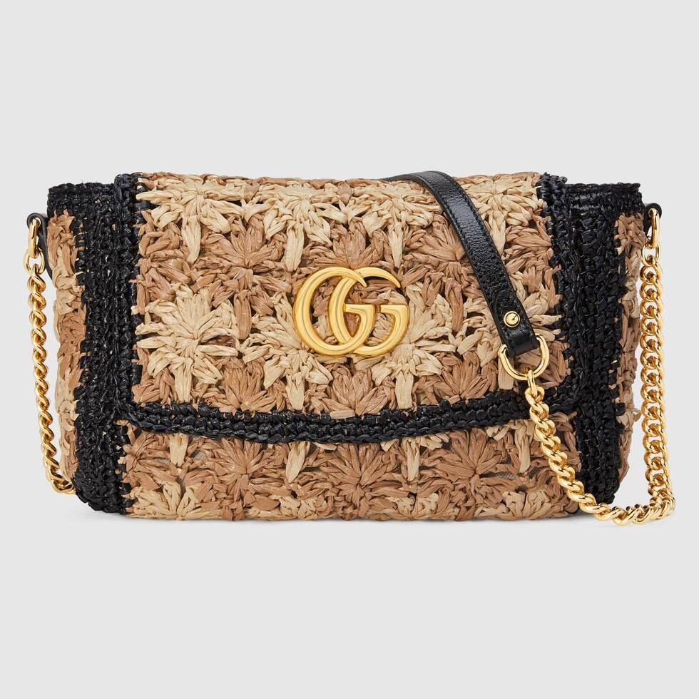 b23ca4c7b Shop the GG Marmont raffia small shoulder bag by Gucci. A new introduction  to the