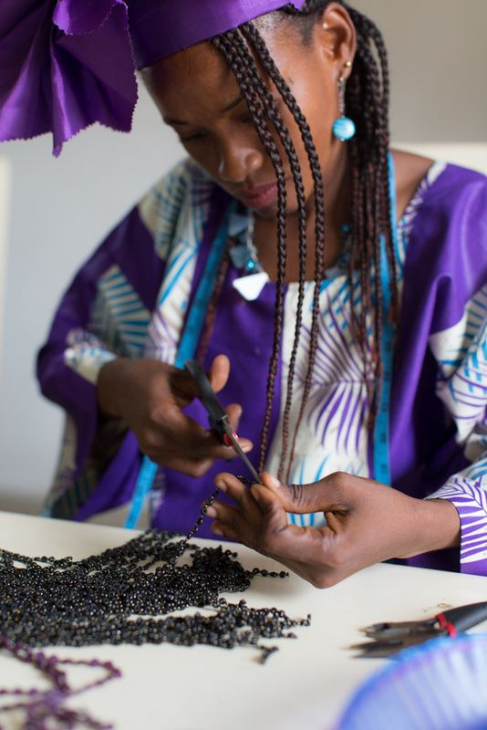 Artisan and Stock Assistant, Abiba, makes Muse Group jewelry in style http://www.musegroup.org/latest/en/team/