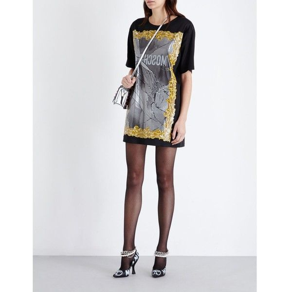 Moschino Baroque logo-print satin mini dress ($625) ❤ liked on Polyvore featuring dresses, baroque print dress, satin dress, short-sleeve maxi dresses, mini dress and mirror dress
