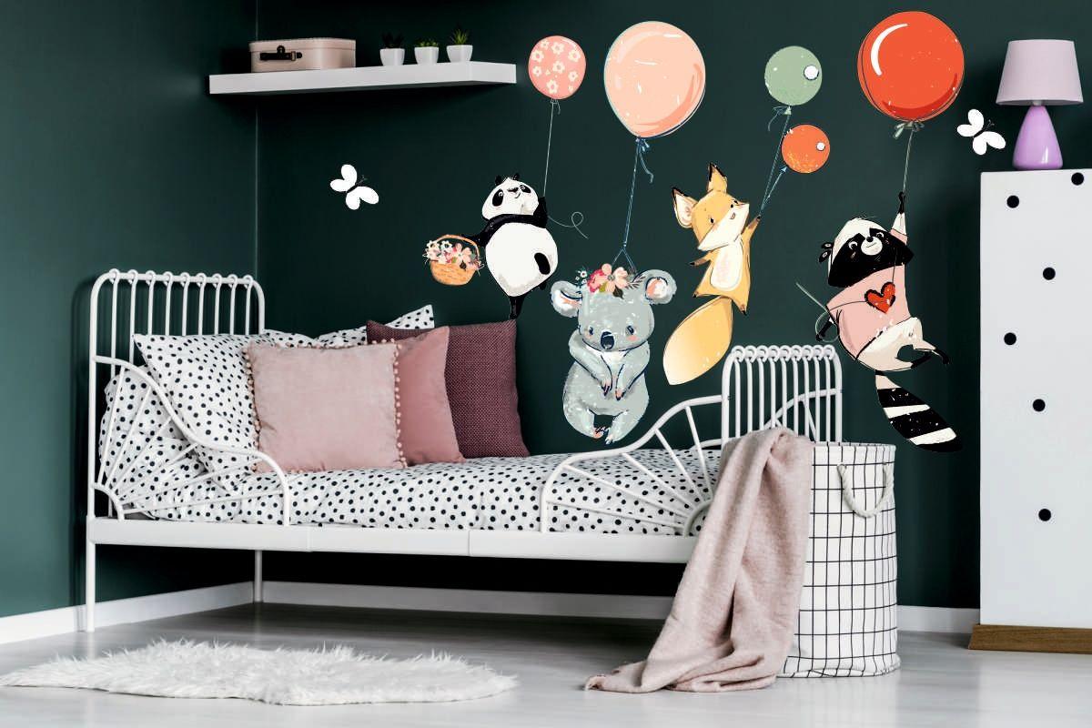 Kup Teraz Na Allegro Pl Za 99 99 Zl Naklejka Na Sciane Panda Balony Szop Lisek I Koala 7795844063 Allegro Pl Radosc Zak Toddler Bed Home Decor Furniture