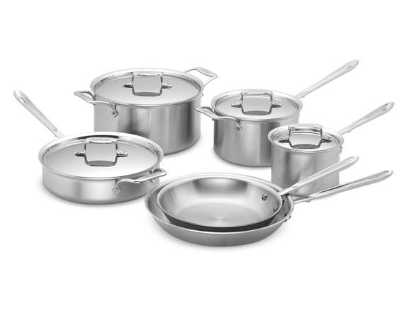 All Clad D5 Brushed Stainless Steel 10 Piece Set In 2021 Brushed Stainless Steel Cookware Set Induction Cookware All clad d5 brushed stainless steel 10 piece set