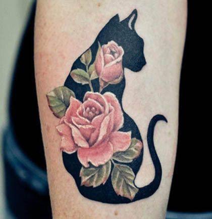 tatouage mollet silhouette chat femme avec 2 roses tatouage pinterest tatouage tatouage. Black Bedroom Furniture Sets. Home Design Ideas