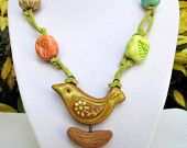 Gaea Handmade Stone Clay Bird Pendant and Beads Hand Knotted on Spring Green Leather Necklace