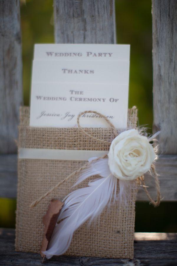 Burlap menu covers, rustic woodsy wedding