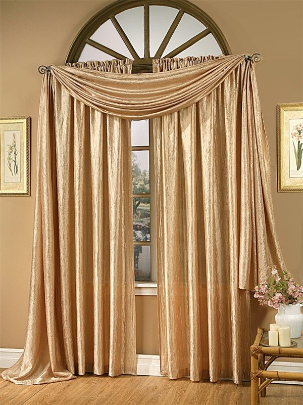 Gold Silk Window Treatment | Magnificent Crushed Satin Rod Pocket Curtain  Panel And Scarf Valance