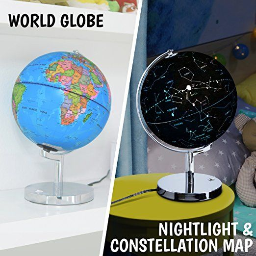 3 in 1 illuminated world globe night light and constellation globe 3 in 1 illuminated world globe night light and constellation globe for kids with world map interactive app and illustrated constellation map educational gumiabroncs Choice Image
