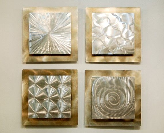 Wall Art Decor Gold : Silver gold modern metal wall sculpture contemporary