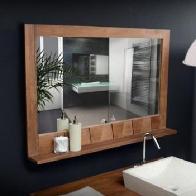 Miroir en bois de teck massif 100x70 décoration salle de ...