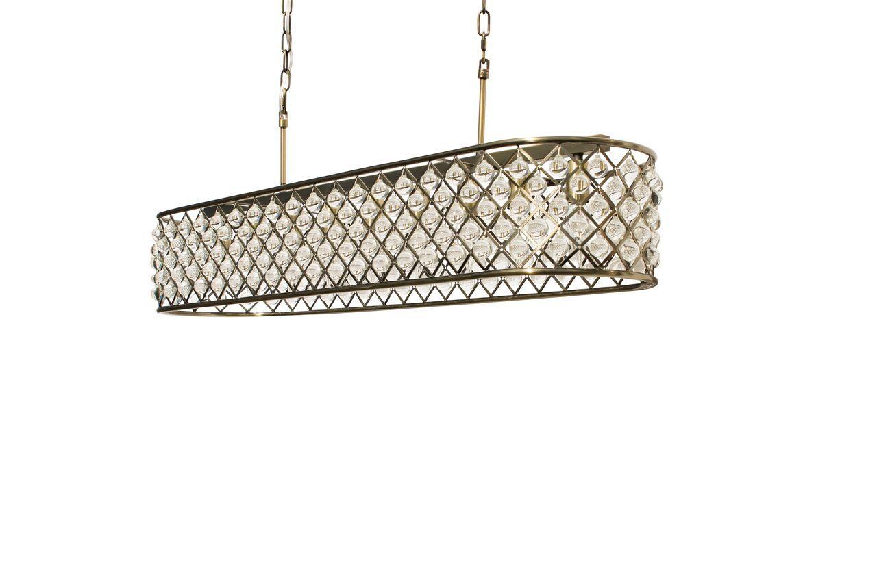 Ciel 40 Inch Rectangular Crystal Chandelier Antique Br Light Up My Home