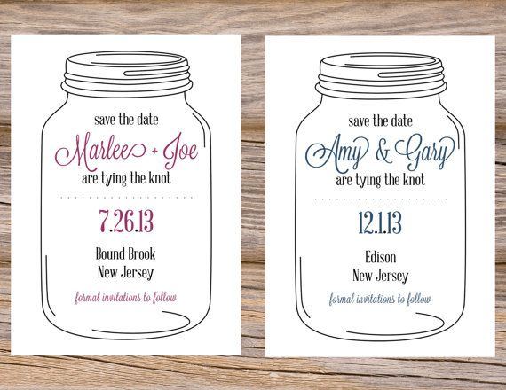 Mason Ball Jar Custom Save The Date Cards ~ Use coupon code PINTEREST15 at checkout for 15% off of your total order! Perfect for a spring or summer wedding!