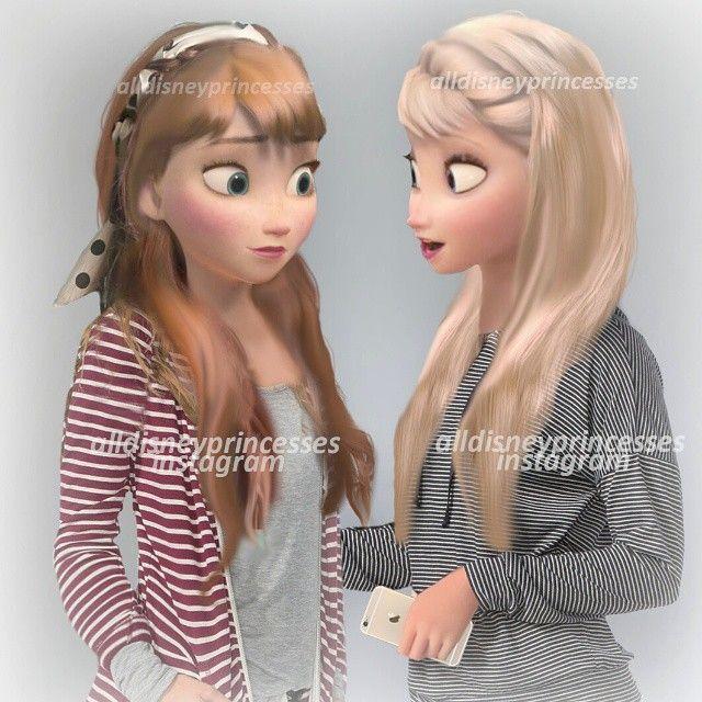 Modern Anna and Elsa | @alldisneyprincesses on Instagram