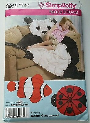 NEW Uncut Simplicity 3955 Sewing Pattern Kids Fleece Throws Panda Fish Ladybug  Use this Simplicity 3955 sewing pattern to create the cutest fleece throws!  You can choose from a panda bear, clown fish, or a lady bug.