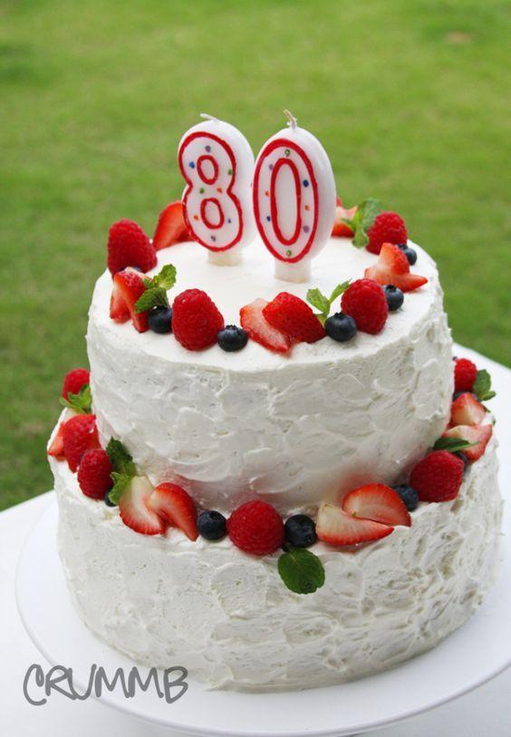 Beautiful Fruit Cake Images : Beautiful fruit-topped 80th birthday cake Birthday Ideas ...