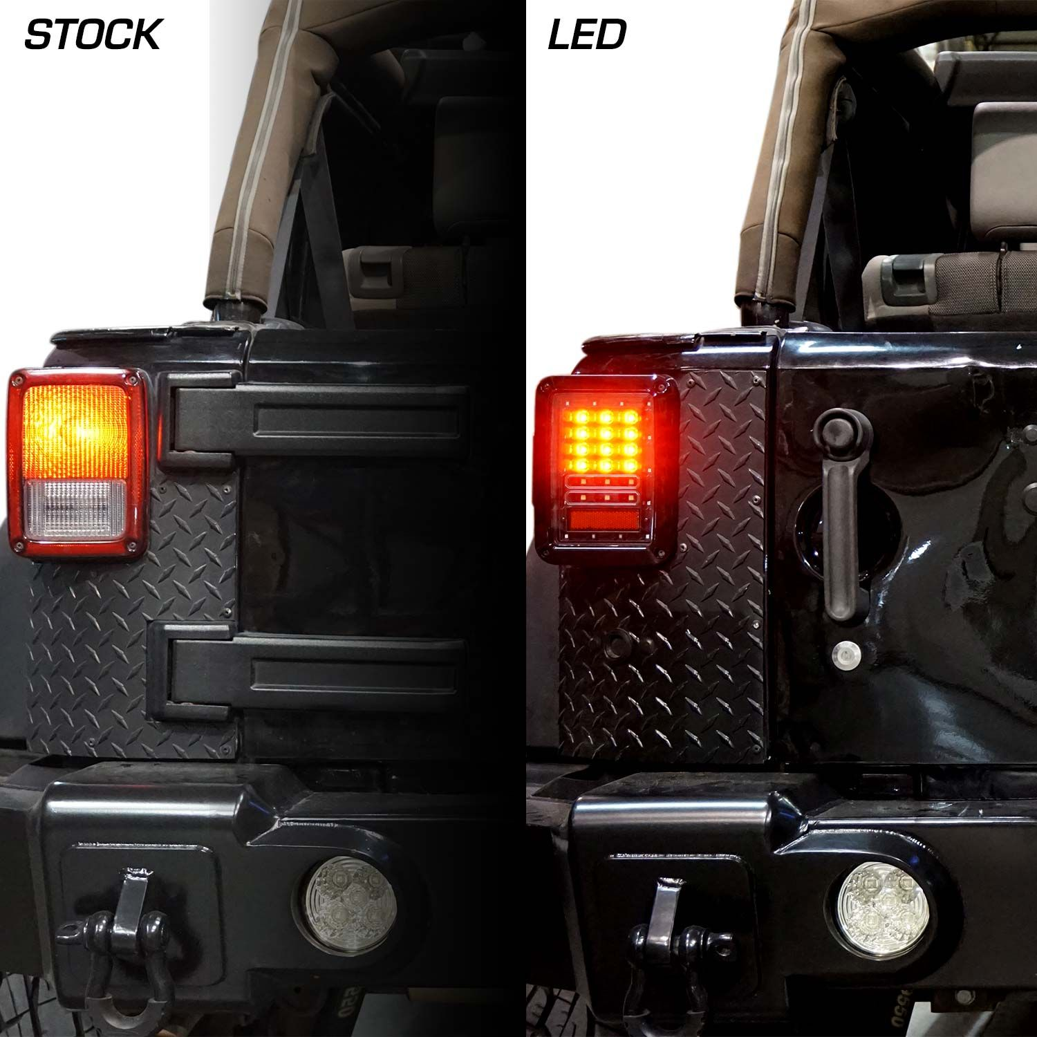 Led Tail Light Upgrades Before And After Jeep Wrangler Led