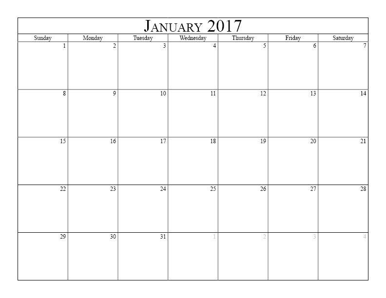 January 2017 Calendar Free printable calendar for January 2017 - printable monthly calendar sample