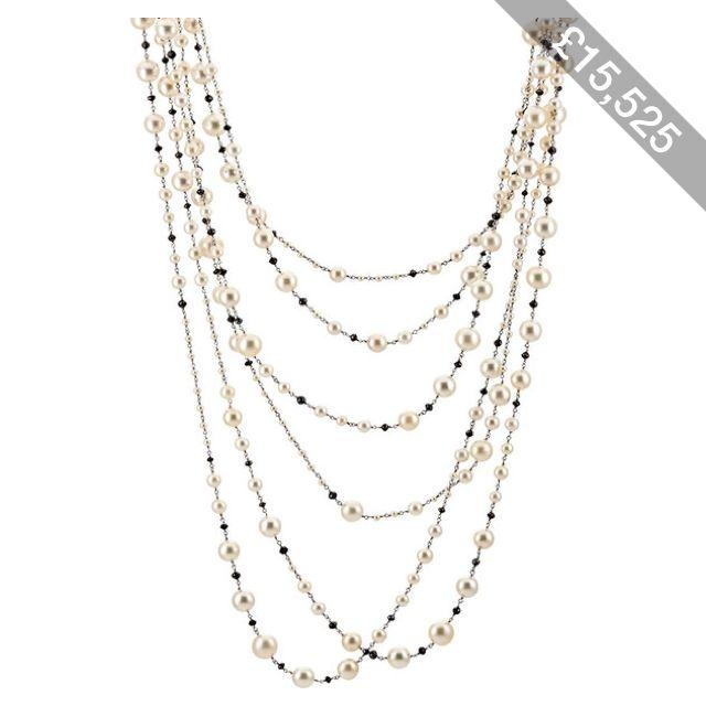 Sidney Garber Women's White Pearl & Black Diamond Choker