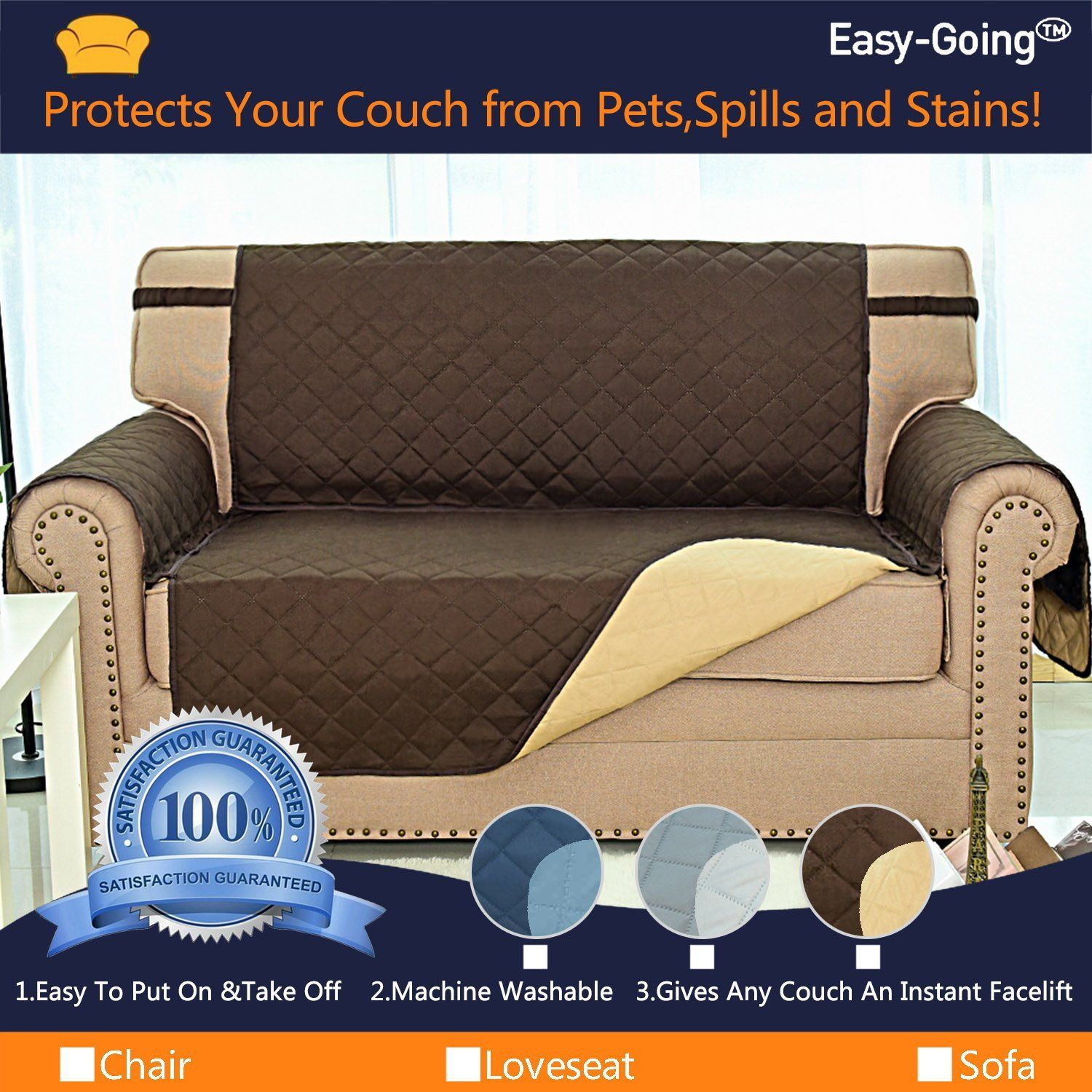 Easygoing Sofa Covers Slipcovers Reversible Quilted Furniture Protectorwater Resistantimproved Couch Shield Elastic Strapsantislip Couch Love Seat Sofa Covers