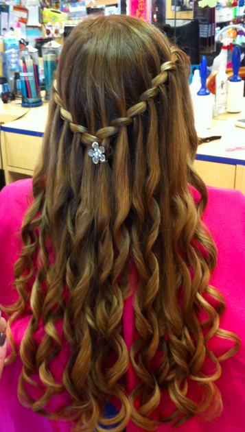 Bat Mitzvah Hairstyles Awesome Beautiful Mira Curls And Twisted Waterfall Kidsnips  Kidsnips