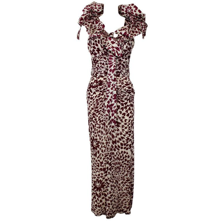 MISSONI Abstract Graphic Floral Print Gown with Shoulder Wrap ...