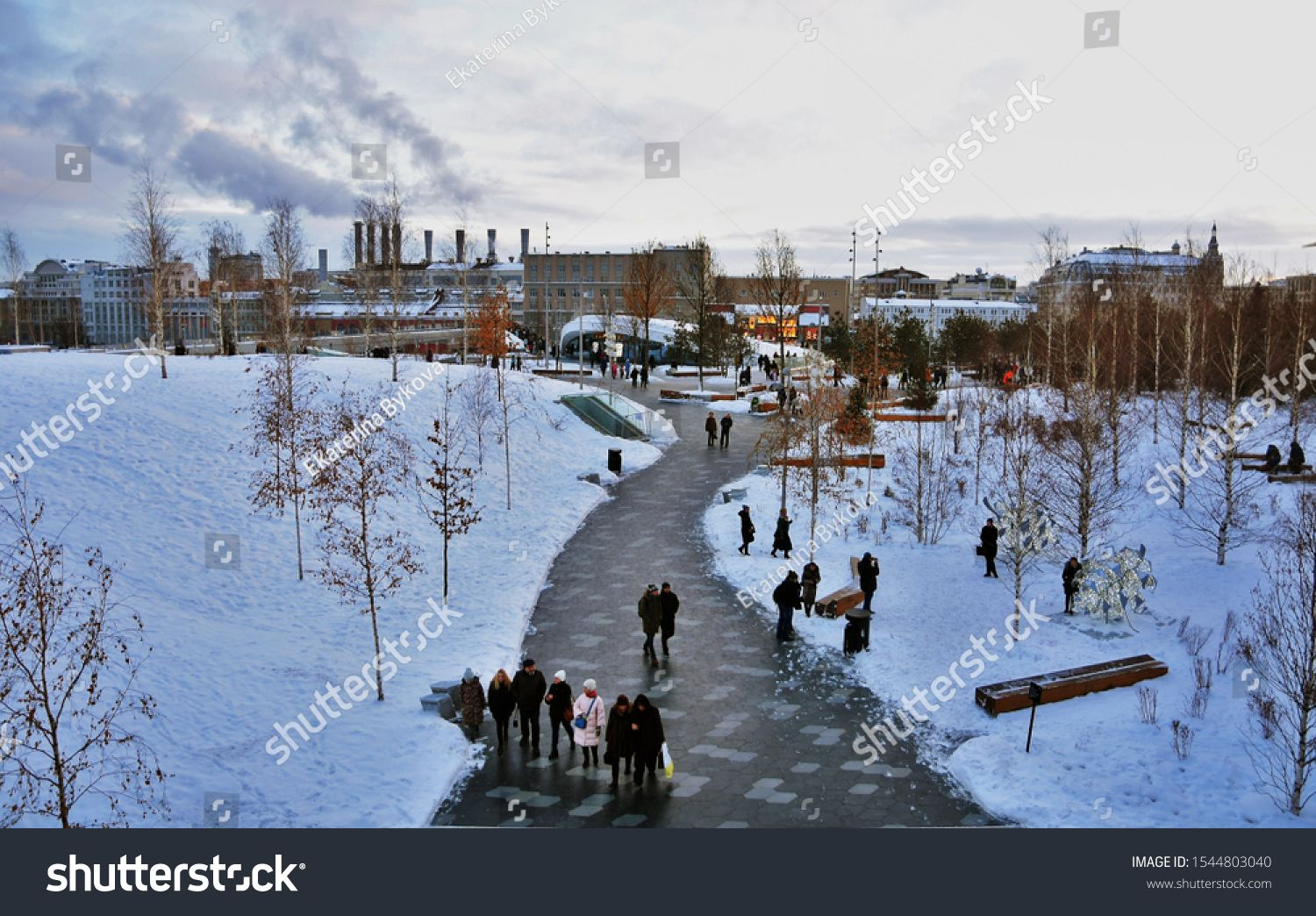 Moscow January 13 2019 View Of Zaryadye Park New Landmark In Moscow City Historic Center Open In 2017 Color Winter Photo Sponsored Winter Photos Stock Photos Photo Editing