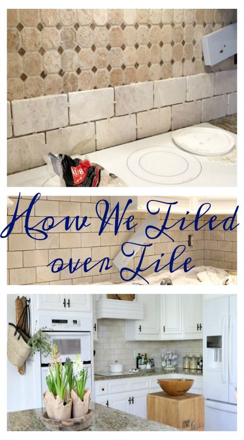 How We Tiled Over Tile is part of Tile bathroom, Painting kitchen tiles, Tile over tile, Painting tile backsplash, Kitchen tiles, Tiles - When I shared this post the other day I had no idea it would be happening so soon! I was very surprised by my better half that we were going to the tile store last Sunday afternoon to get the tile I wanted and then bam this project was underway! How We Tiled Over Tile This is how the old tile looked  While it was okay I was not in love with it with the new white cabinet color and it's a bit too busy to me with the busy granite pattern  So once Mr  Savvy realized he could just remove a few tiles and not a total removal he decided to go ahead with this project  The raised brown piece that you see in this photo runs all the way under the cabinets and since it sticks out that was the only thing he needed to remove  Once he got the first piece out the rest came out fairly easily  After removing the decorative piece he had to find something to fill the gap in that was level with the existing tile  We found some cheap tile to use the fit perfectly  I shared this pic on instagram so be sure to follow me for some behind the scences  And for the naysayers who say you can't tile over tile I'm afraid you can  I even googled the info  It won't work in every case, but it works perfectly with this job  After Mr  Savvy got home from work on Monday he was back at it and got a bit more done  Lots of cuts had to be made around outlets and trim so it was slow going that night  He'd be done if all he had to do was slap tile up there  He worked more on Tuesday and it was looking so good  We had to leave early afternoon to go for our yearly skin check, but got back to it when we got home  He quit right before a storm blew in that night and our power went out  I love the cleaner brighter look of this natural stone tile  He got all the way to the fridge except for the part you can't see up under the cabinets  He will get back to that soon  Then it's on to this side and the fun part of grouting it all and the clean up  See the reveal here
