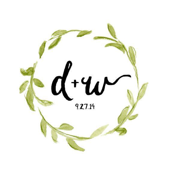 Customizable Floral Wreath Wedding Logo Watercolor