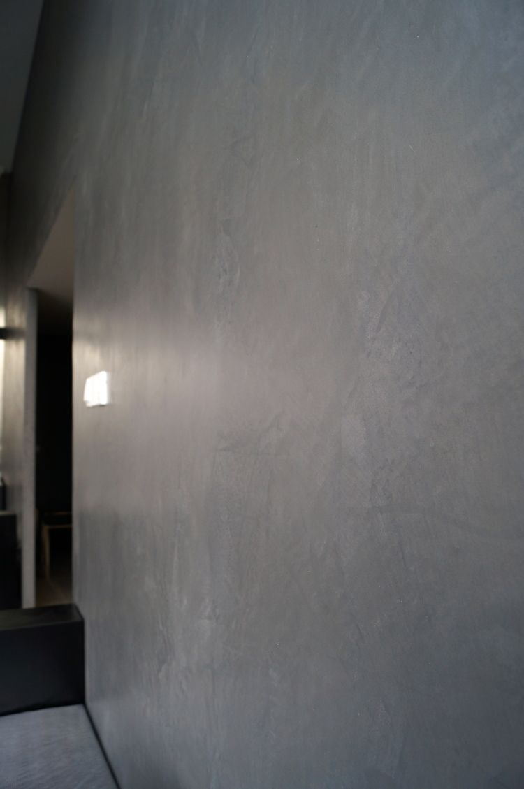 Wall finishing smooth marmorino charcoal grey satin - Satin paint on walls ...