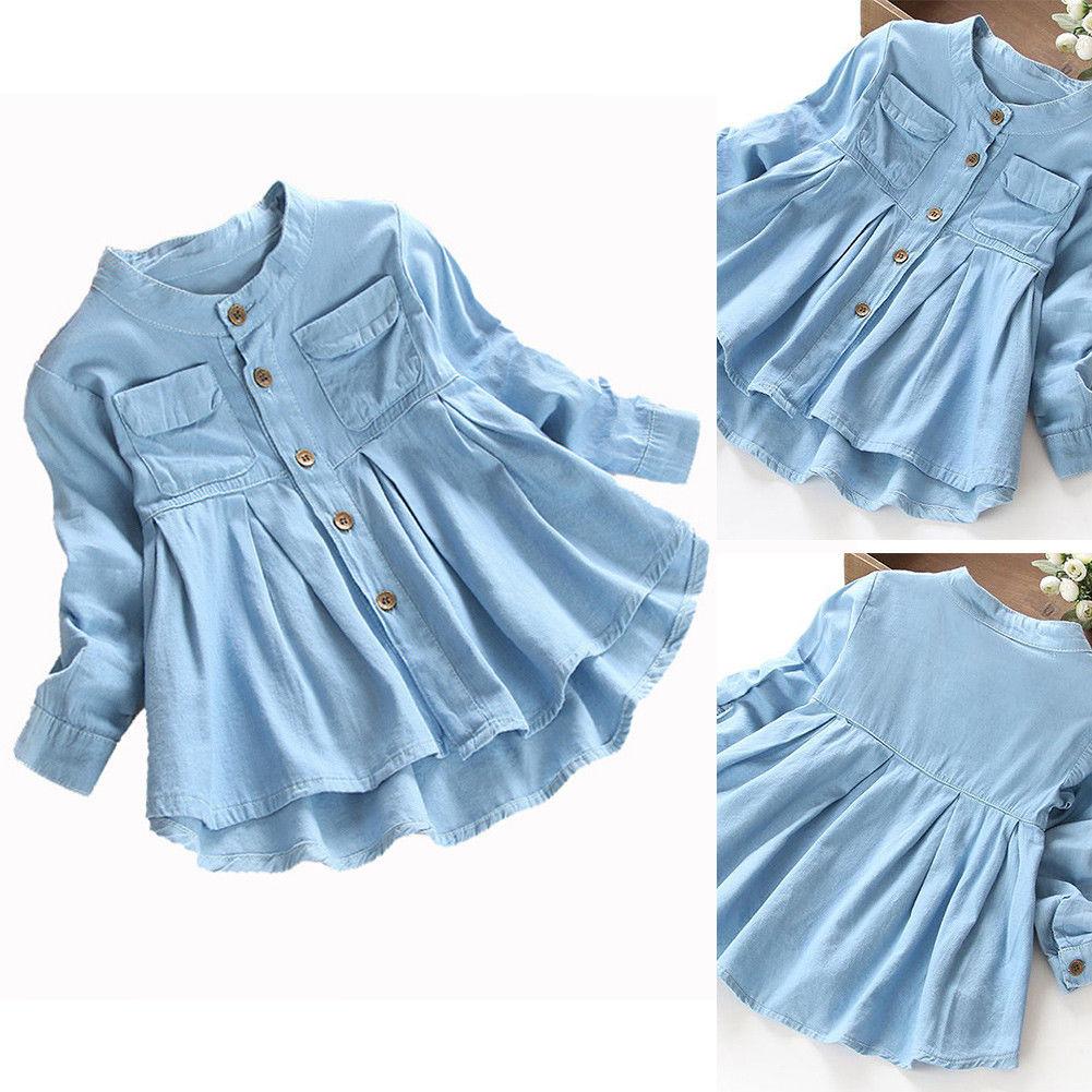 78d305e5cf33c $6.36 - Toddler Autumn Dress Kids Girls Jeans Denim Long Sleeve ...