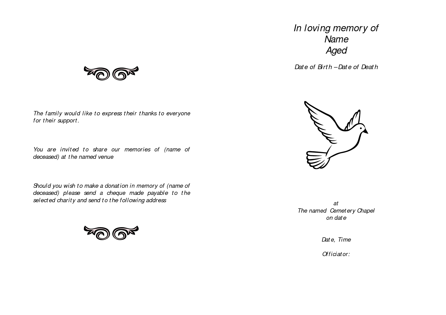 Awesome Memorial Service Programs Sample | An Example For The Outline Of A Funeral  Service Pertaining To Free Memorial Service Program