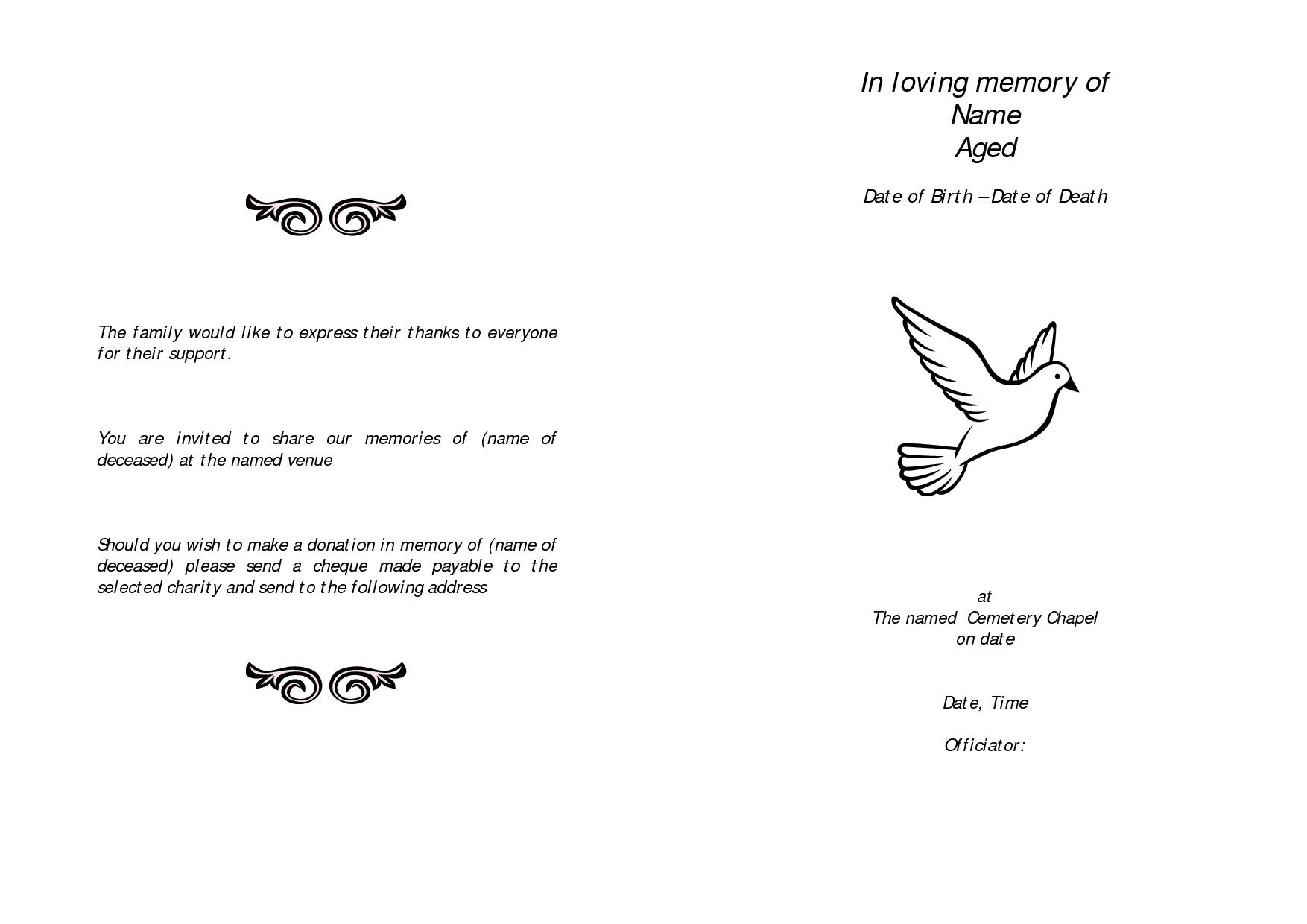 Memorial Service Programs Sample | An Example For The Outline Of A Funeral  Service  Funeral Service Templates Word