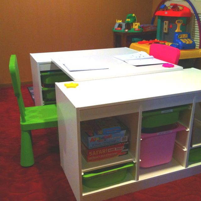 An Ikea Hack Two Trofast Shelves One Spare Board Desk For With