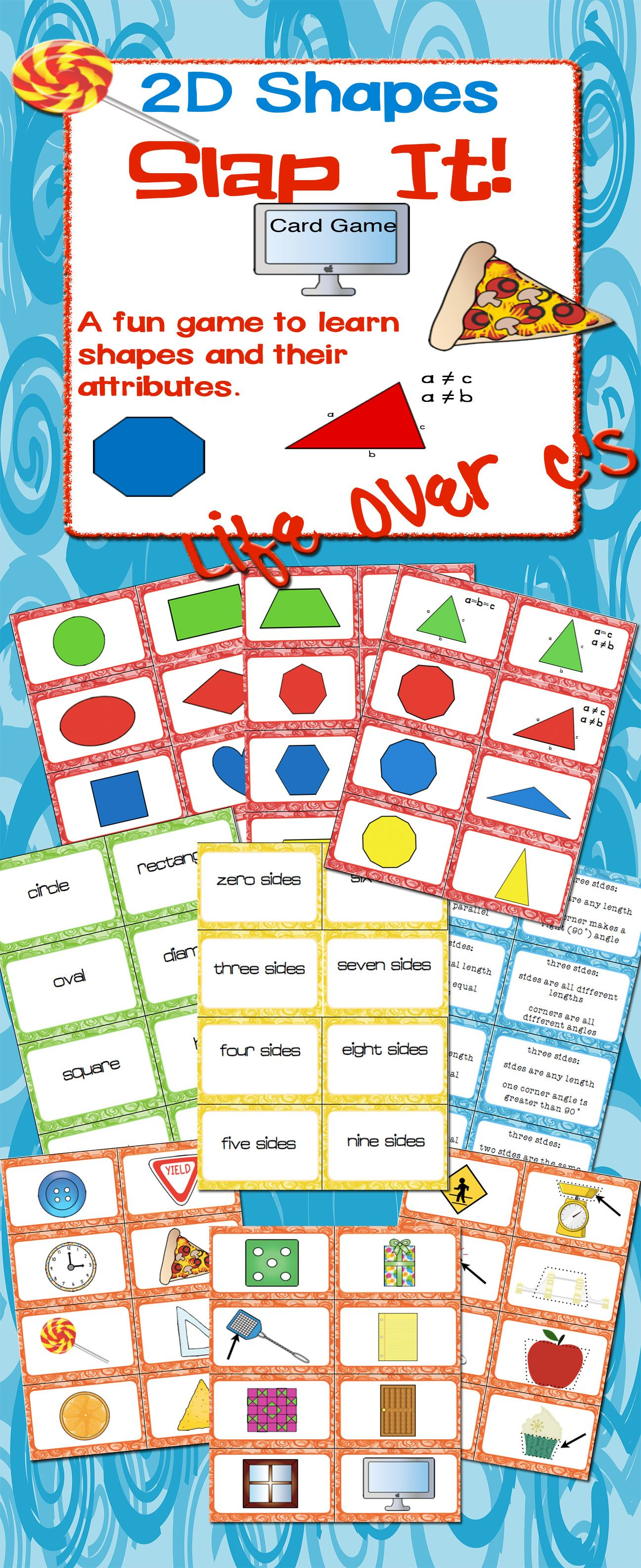2d Shape Slap It Card Game Math Center