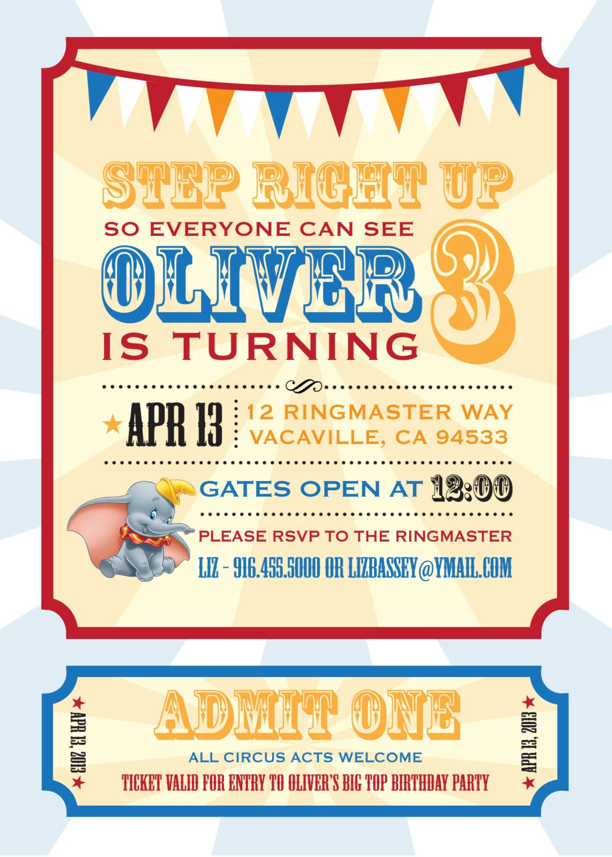 Dumbo Circus Personalized Birthday Invitation / PRINTABLE / Digital ...