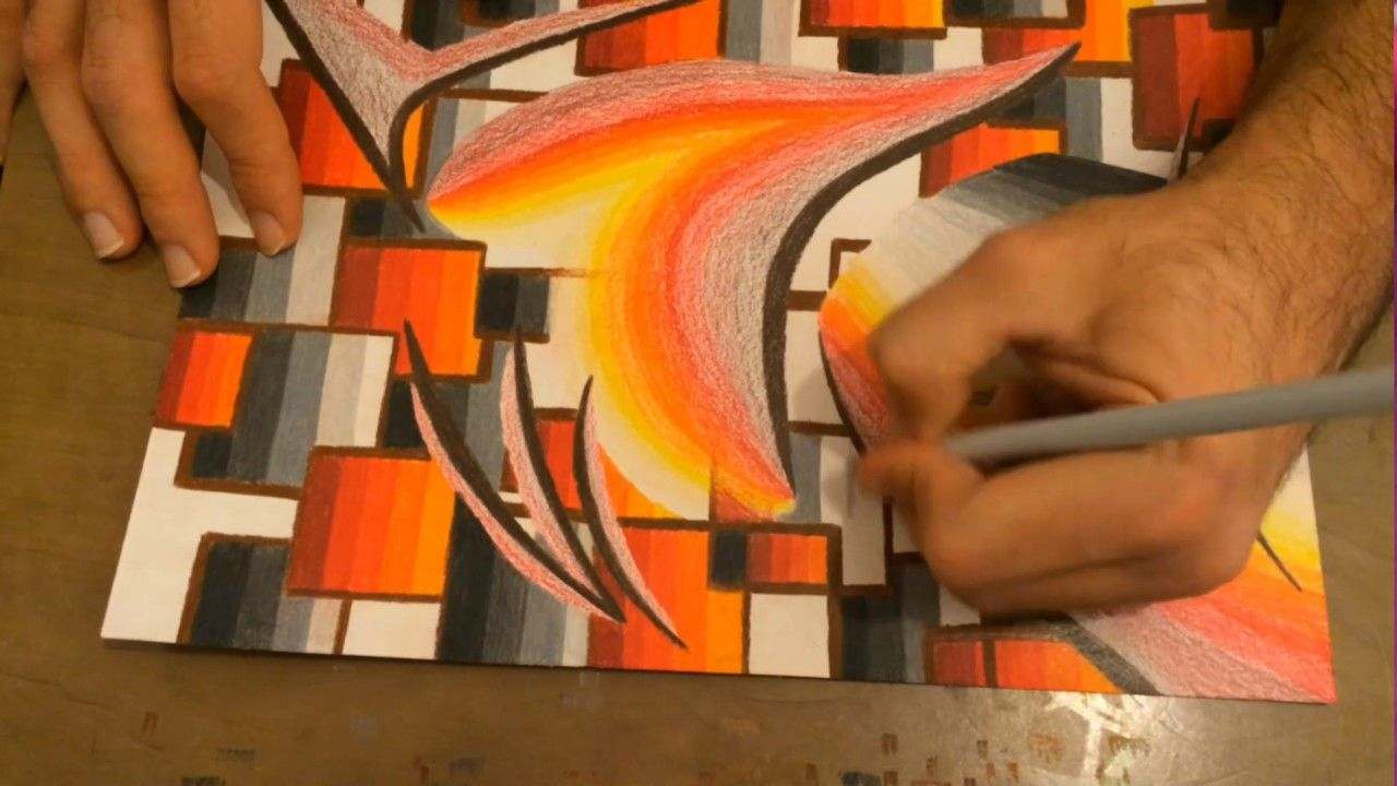 Very Easy Abstract Drawing Creating Flame Colours With Oil