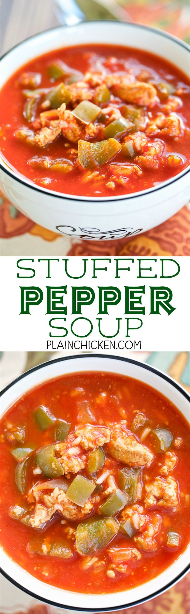 Stuffed Pepper Soup Ready In 30 Minutes Ground Turkey Green Peppers Onion Garlic Tomato Soup Beef Brot Stuffed Peppers Stuffed Pepper Soup Stew Recipes