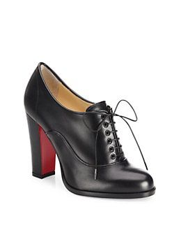 7c4c1b26749 Christian Louboutin - Coleslaw Leather Block-Heel Oxfords