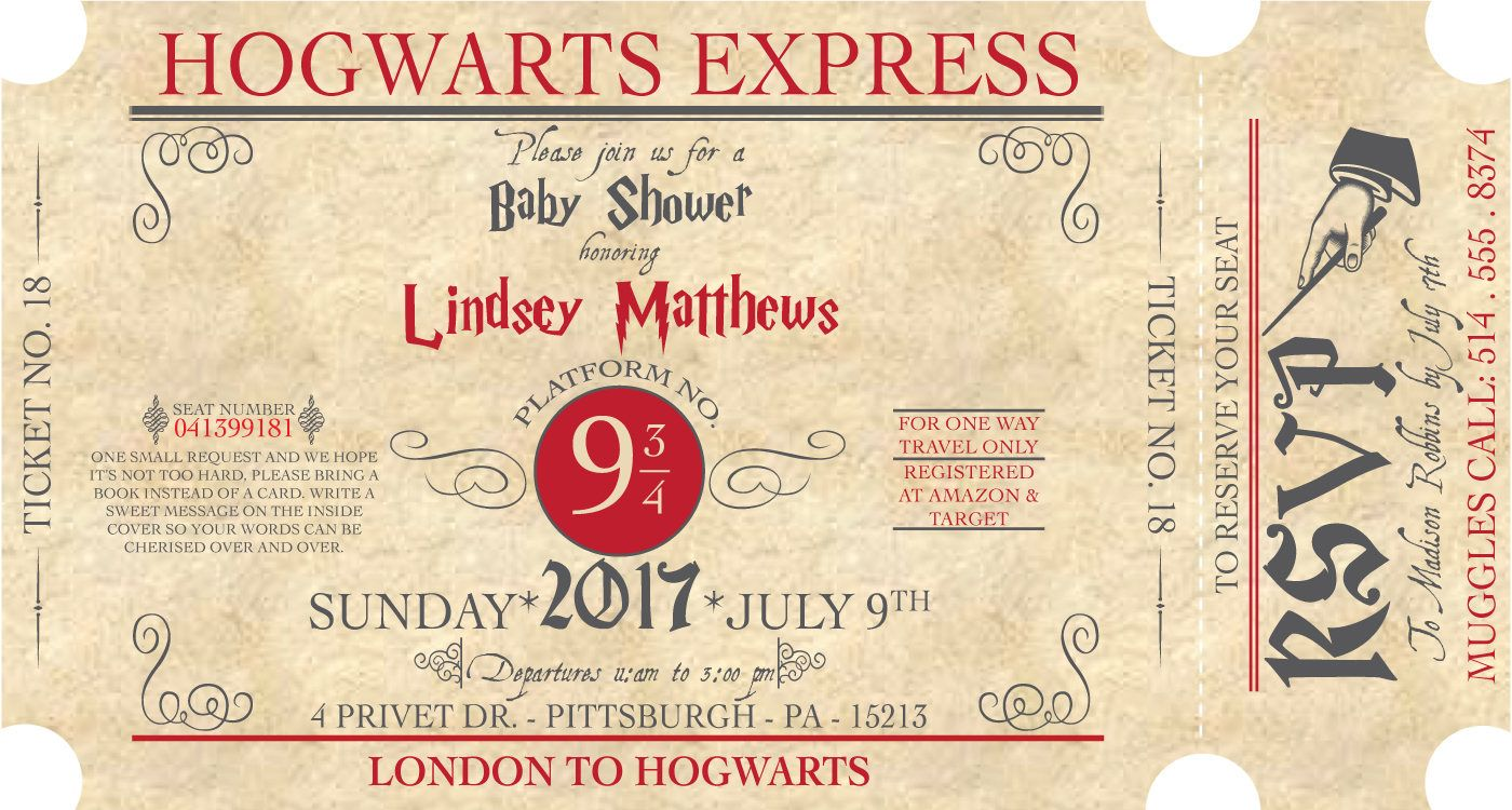 Invitation Anniversaire Harry Potter Poudlard Express