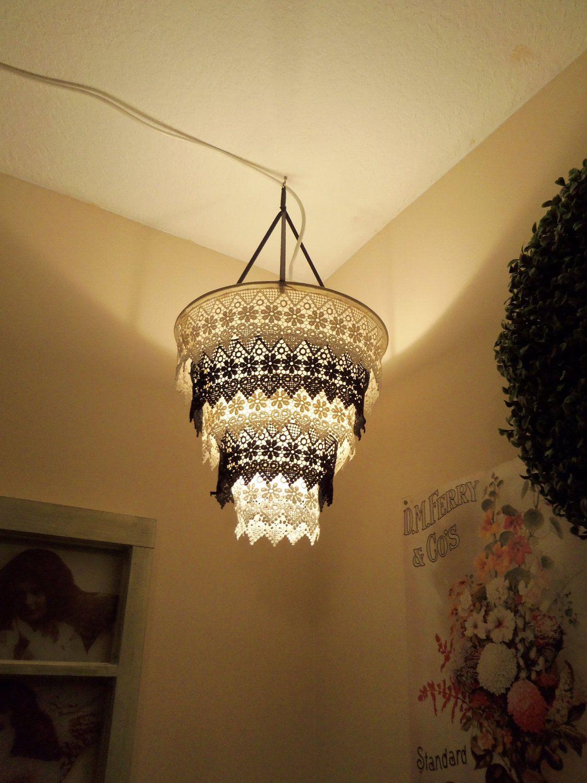 Venise Lace Faux Chandelier Pendant Lamp Shade Black Etsy Diy Pendant Light Pendant Lamp Shade Diy Chandelier