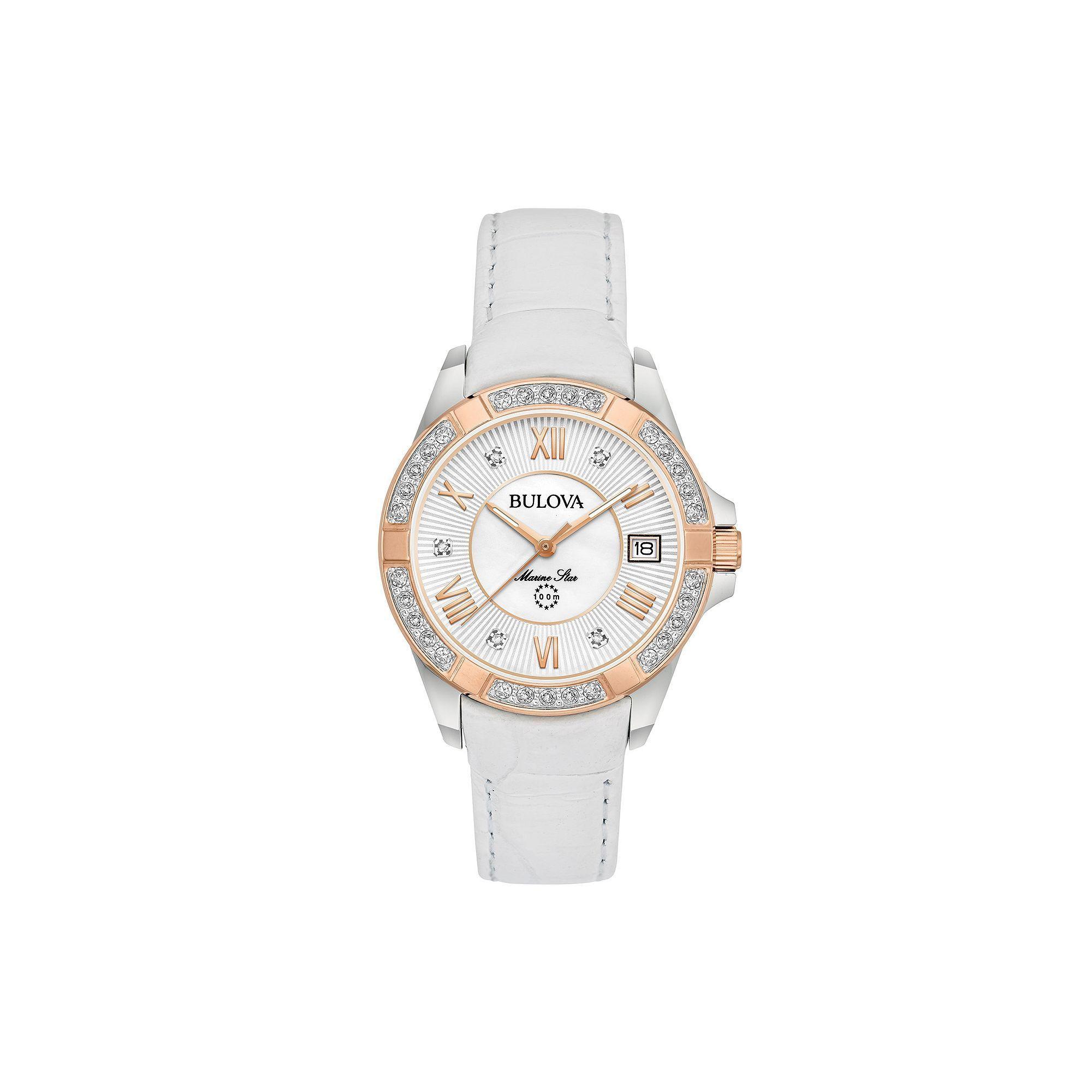 42f4a1366 Bulova Women's Marine Star Diamond Leather Watch - 98R233 | Products ...